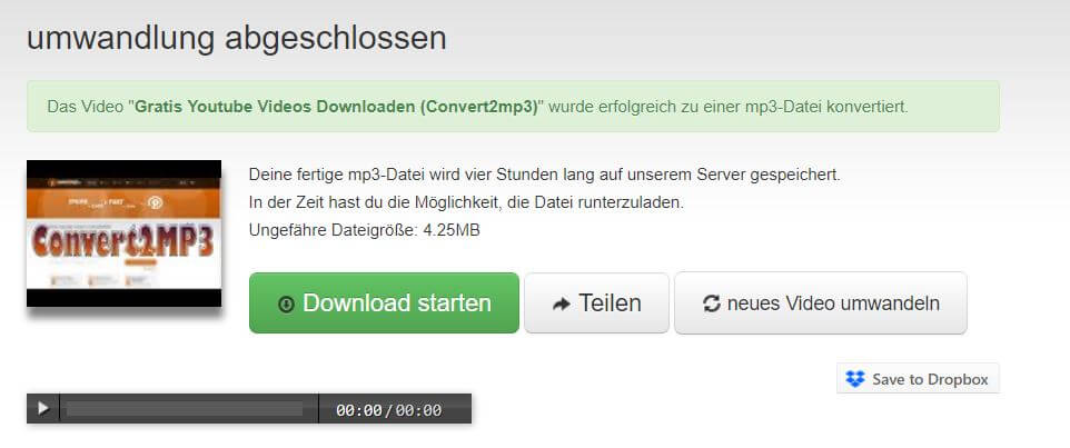 convert2mp3.net Download starten