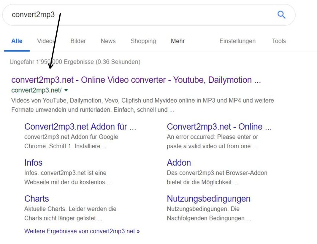convert2mp3.net bei Google