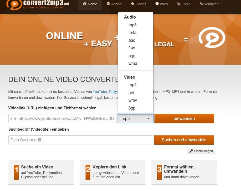 convert2mp3.net in welche Datei soll umgewandelt werden