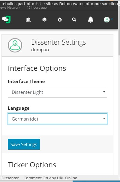 dissenter sprache deutsch