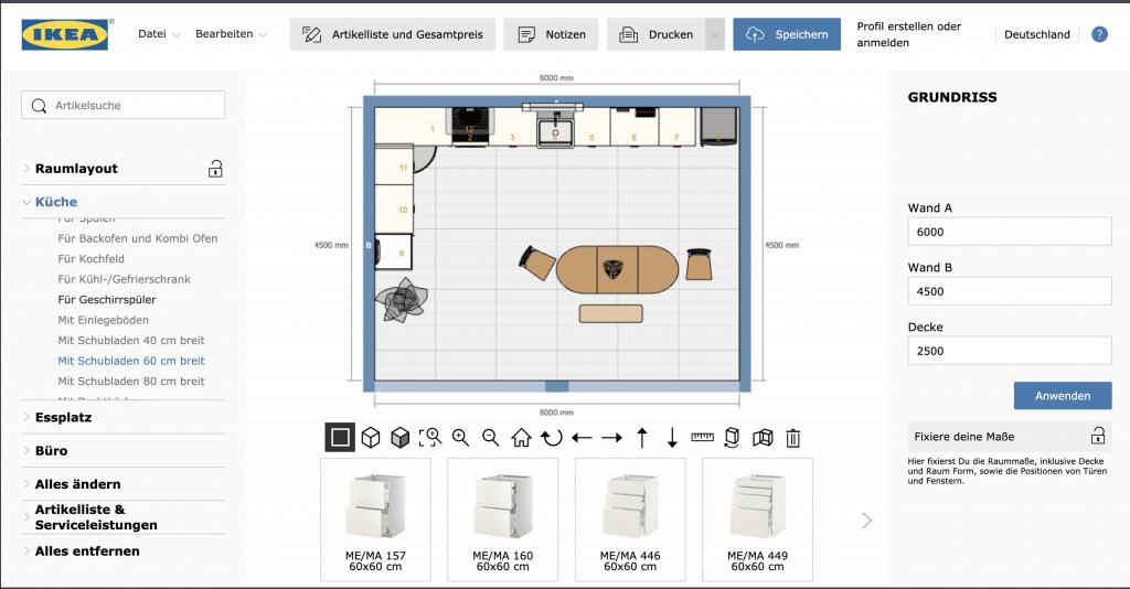 Ikea Küchenplaner 2D-Ansicht